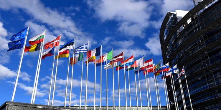 Flags in front of EP building in Strasbourg