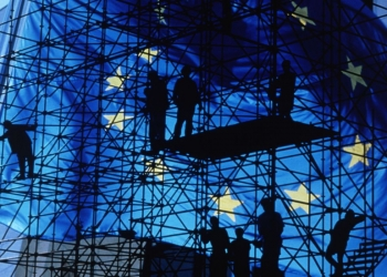 European flag on metal scaffolding background