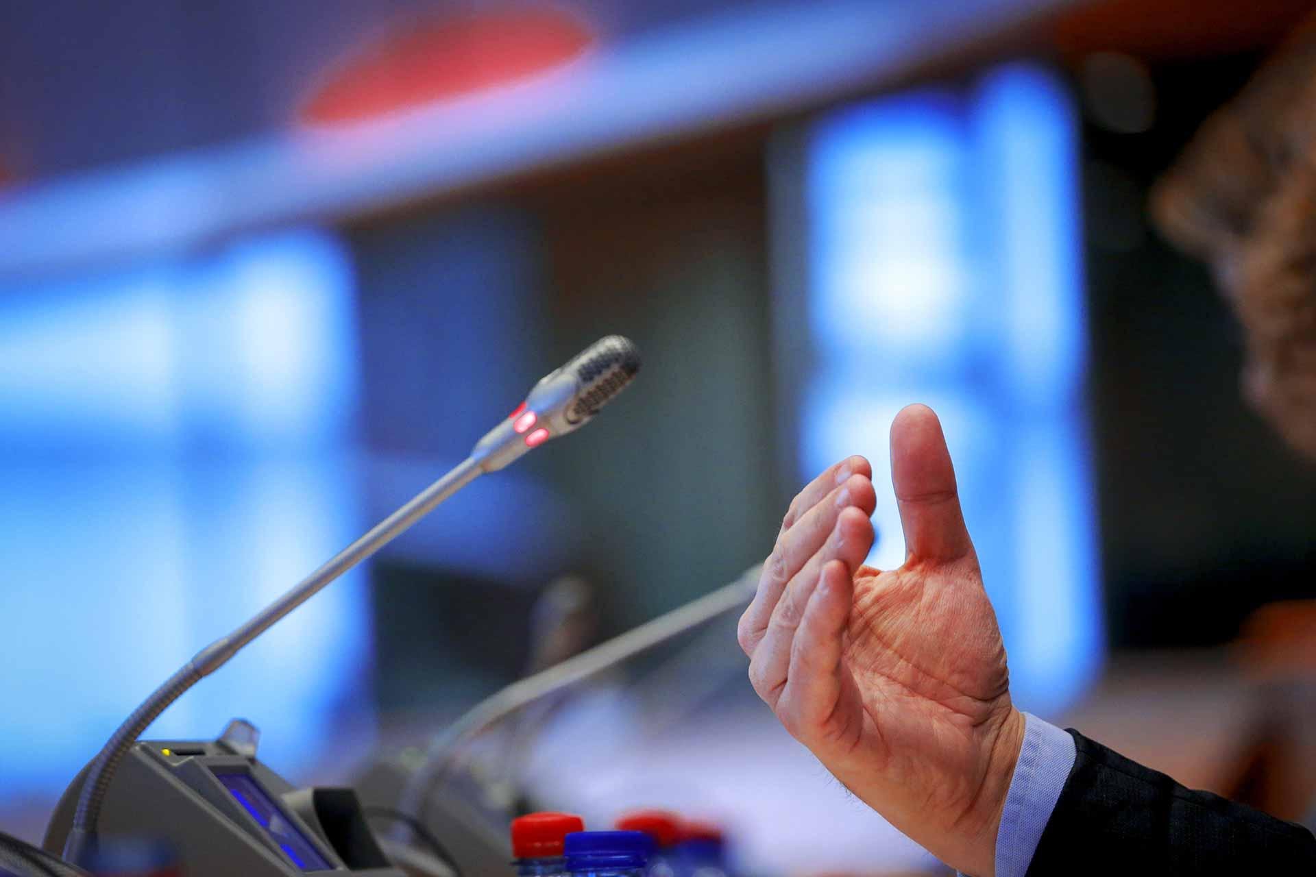 EP hearings European Parliament microphone