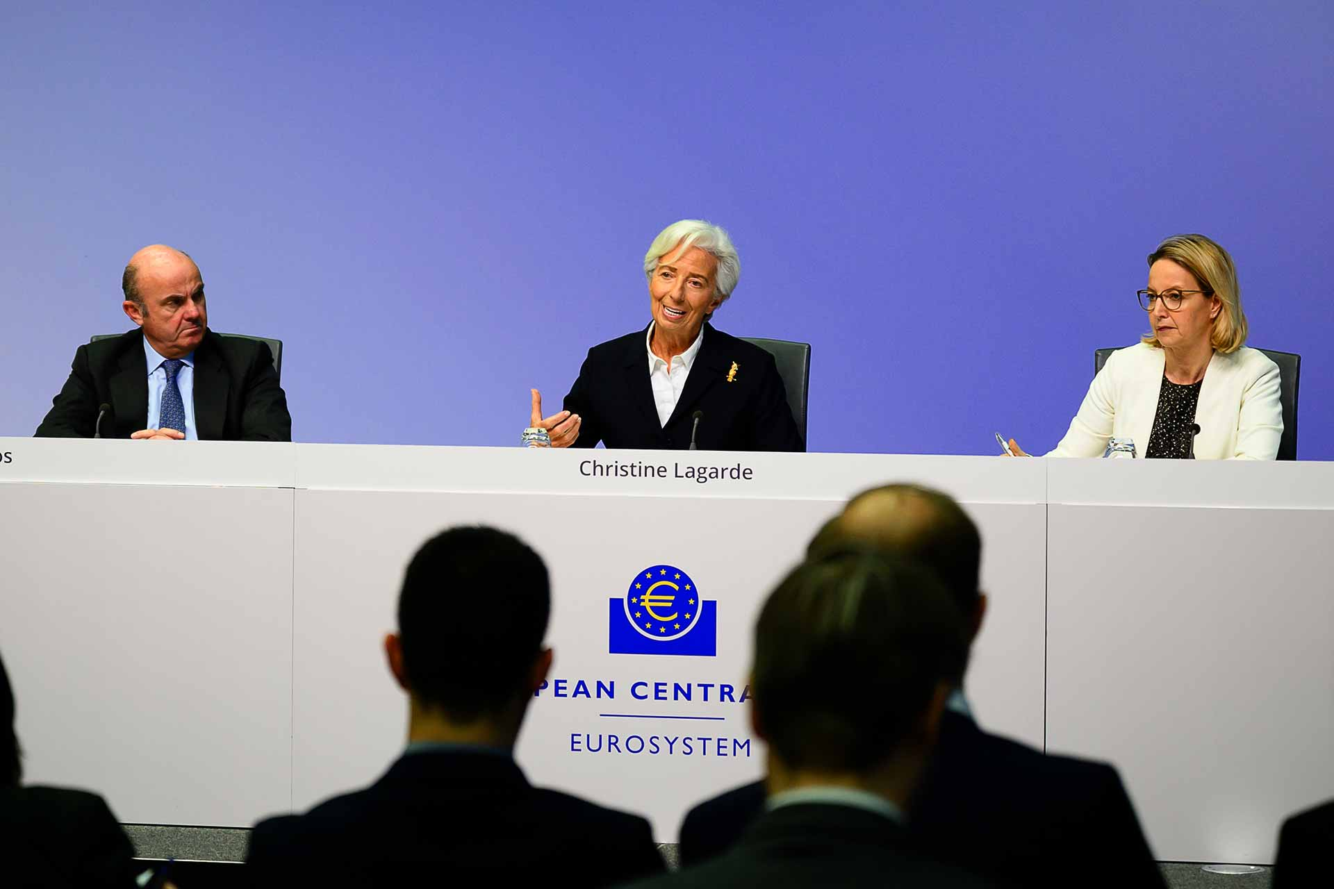 ECB President Christine Lagarde and Vice-President Luis de Guindos