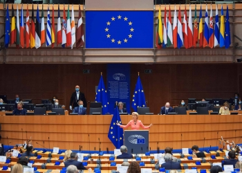 Ursula von der Leyen President of the European Commission in European Parliament in Brussels