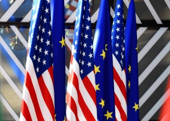 EU USA flags at the EUropean Council