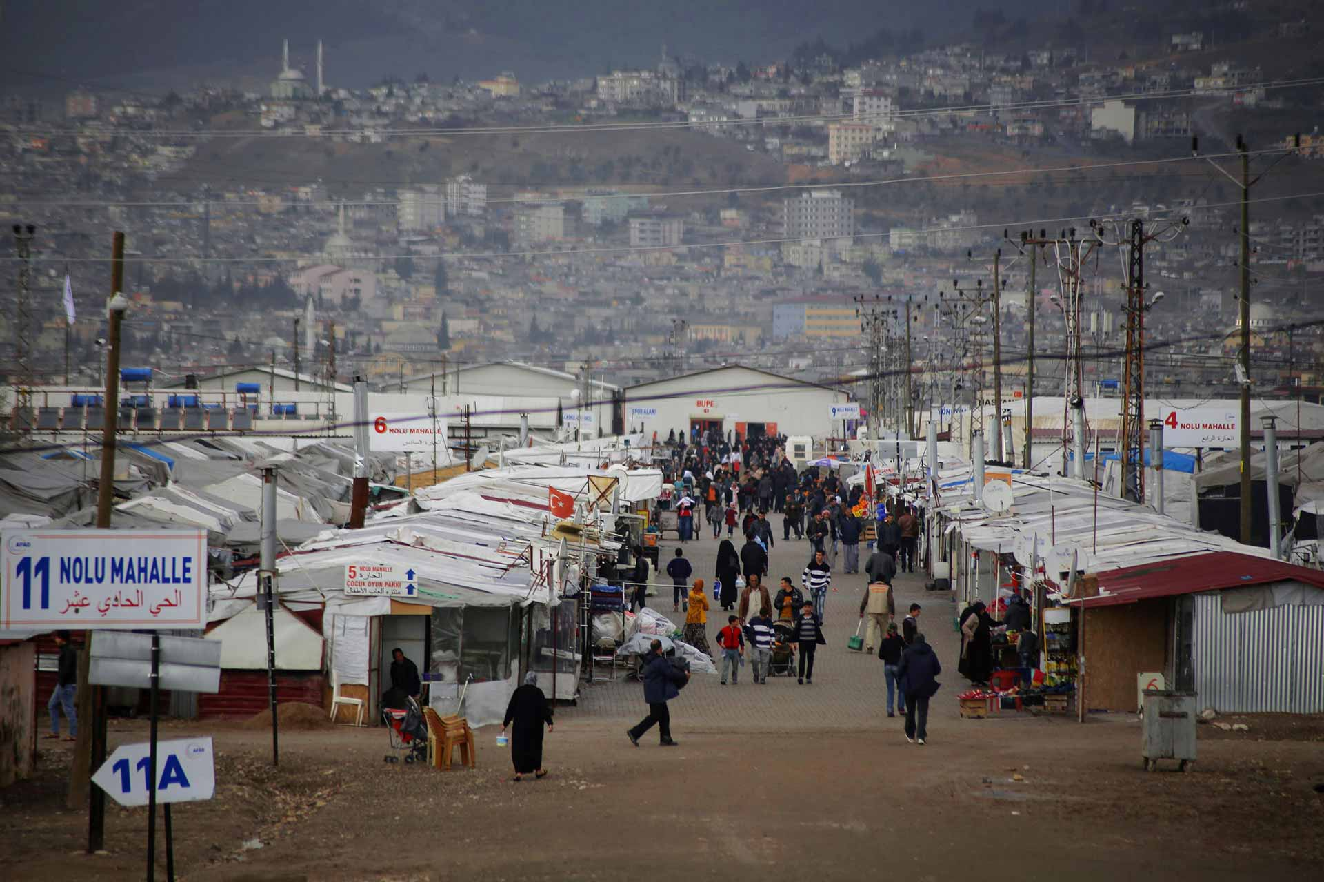 A street in the refugee camp tents Kahramanmaras