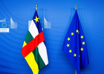 Flags of the European Union and the Central African Republic CAR