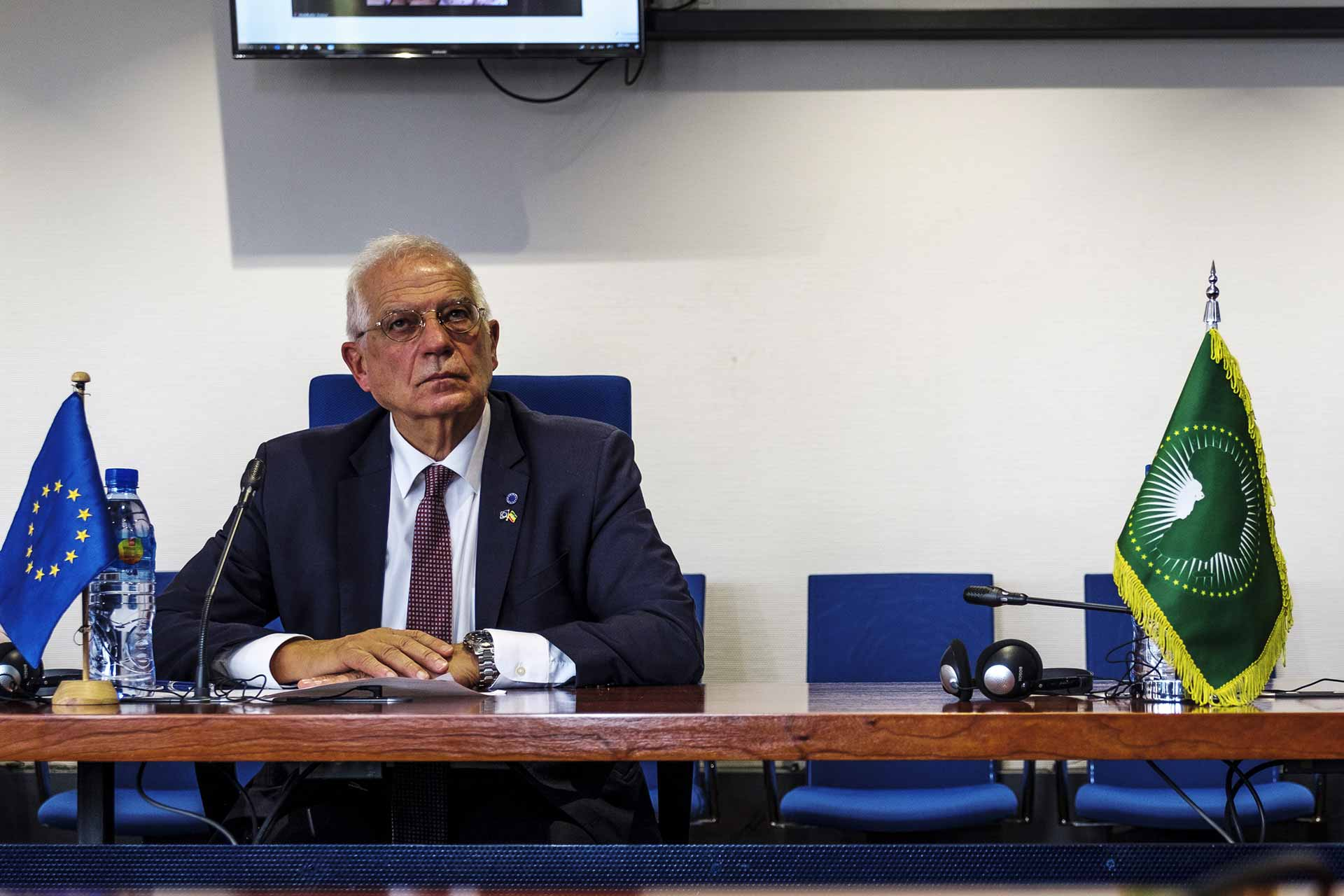 Josep Borrell Fontelles at the African Union Commission's Peace and Security Building in Addis Ababa.