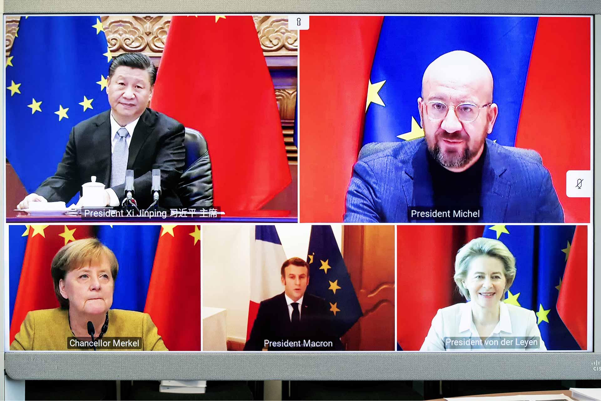 Xi Jinping, Charles Michel, Angela Merkel, Emmanuel Macron, Ursula von der Leyen