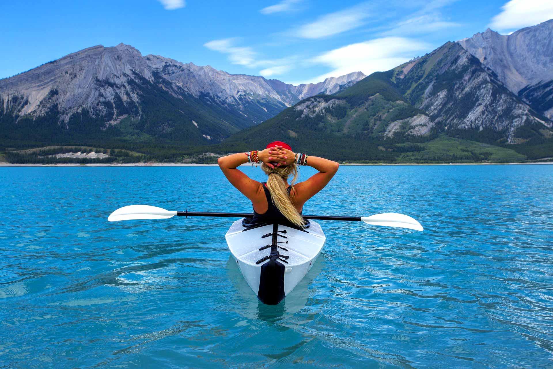 adventure canoe cayak landscape mountains traveller travel tourism