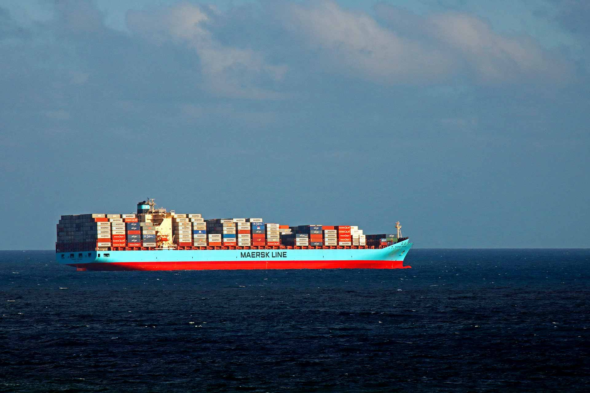 container ship on the sea