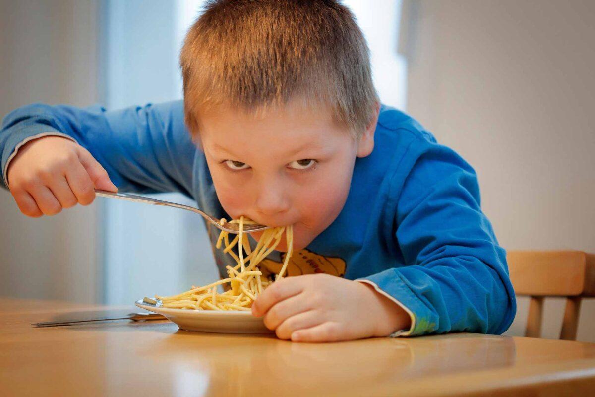 kid boy eating children