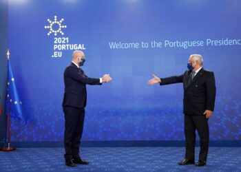António Costa Portuguese Prime Minister eudebates with Charles Michel EU Council President in Lisbon