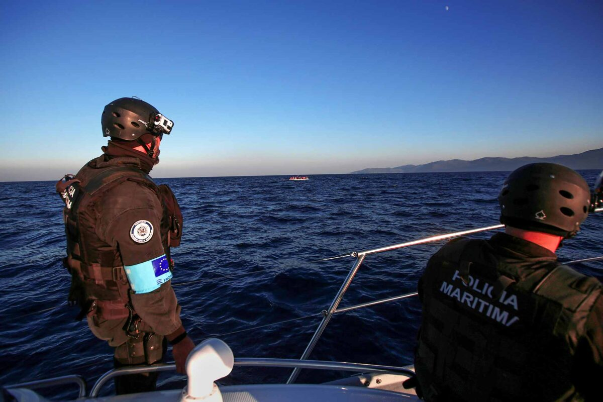 Frontex agency in Greek island of Lesbos