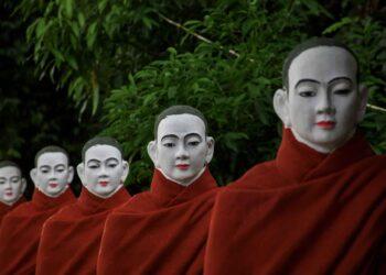 Myanmar monk statues