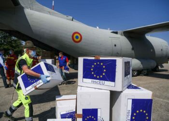 A Military airplane from Bucharest, Romania arrives in Milan, Italy bringing in DPI protections, part of Operation RescEU in the context of the COVID-19 pandemic