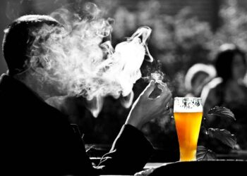 Man smoking - beer Alcohol and Tobacco