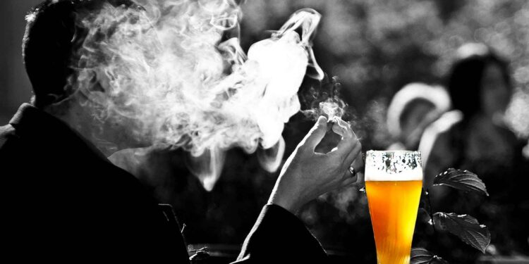 Man smoking - beer Alcohol and Tobacco