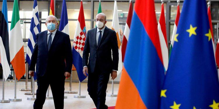 Dr Armen SARKISSIAN, President of Armenia; Mr Charles MICHEL, President of the European Council