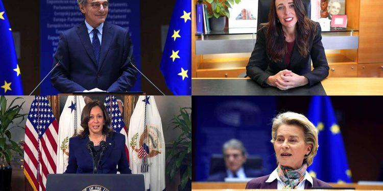 President Sassoli, New Zealand PM Ardern, US VP Harris and President von der Leyen