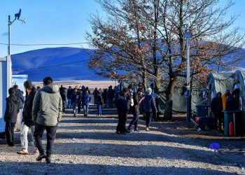 The Lipa camp for migrants, close to the town of Bihać, and near the border of Croatia