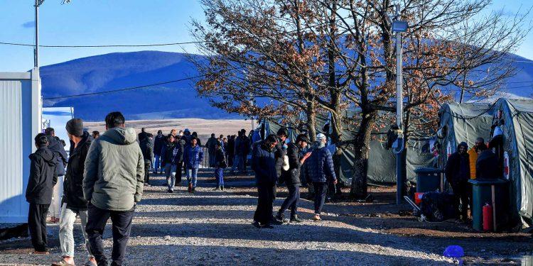 The Lipa camp for migrants, close to the town of Bihać, and near the border of Croatia