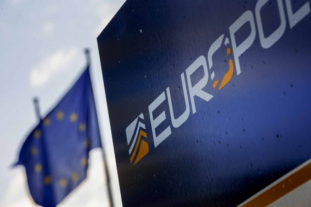 European flag in front of the Europol building