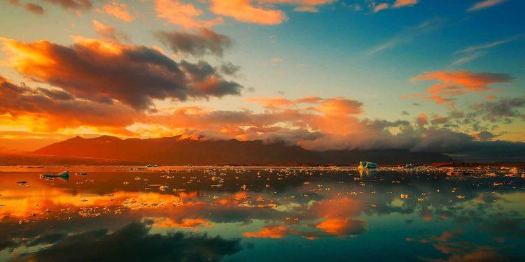 Iceland ICE water sea ocean sunset
