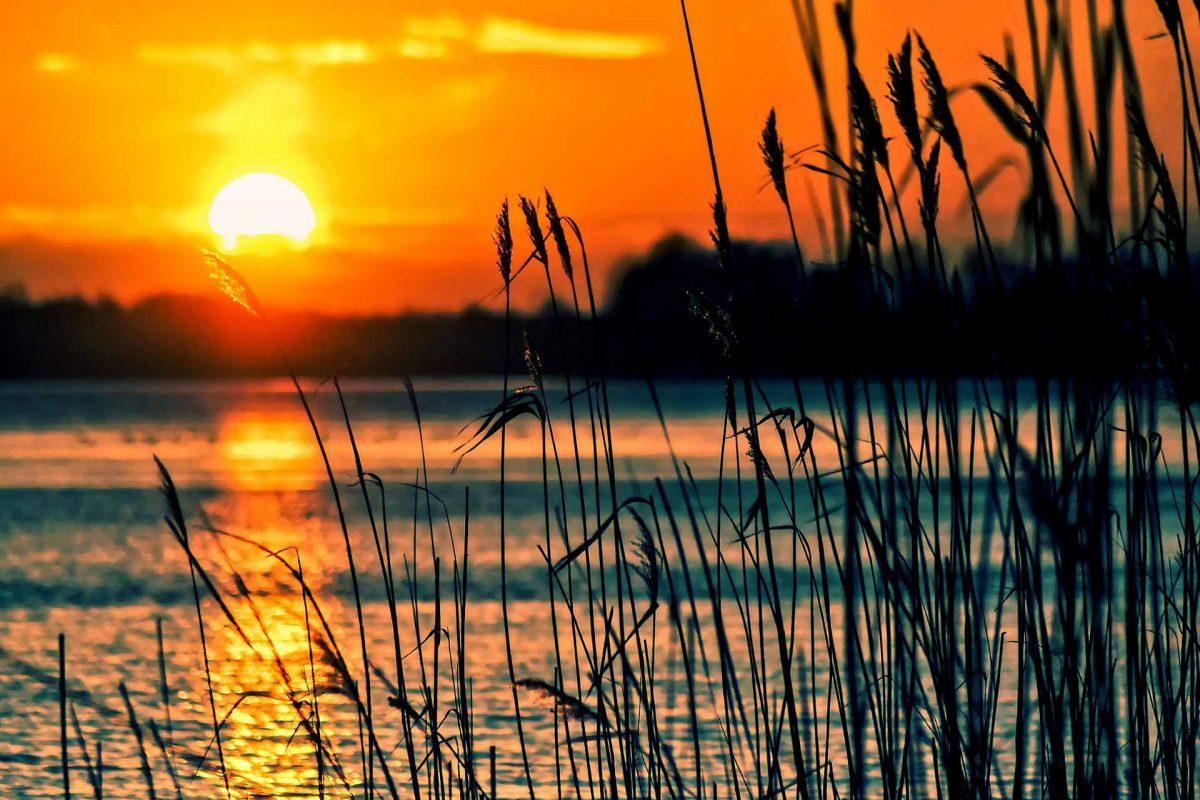 lake water sunset